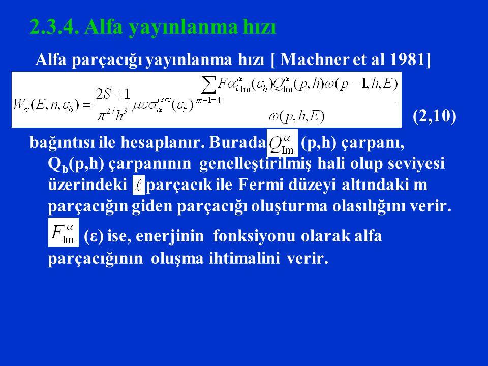 Alfa parçacığı yayınlanma hızı [ Machner et al 1981]